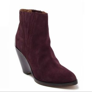 SEYCHELLES BURGUNDY PARK SUEDE WEDGE BOOT NIB!
